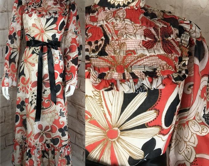 Vintage 60s 70s Psychedelic S/M Floral prairie Maxi Ruffle boho Dress Cotton Voile 1960s 1970s Small/Medium Boho Chiffon