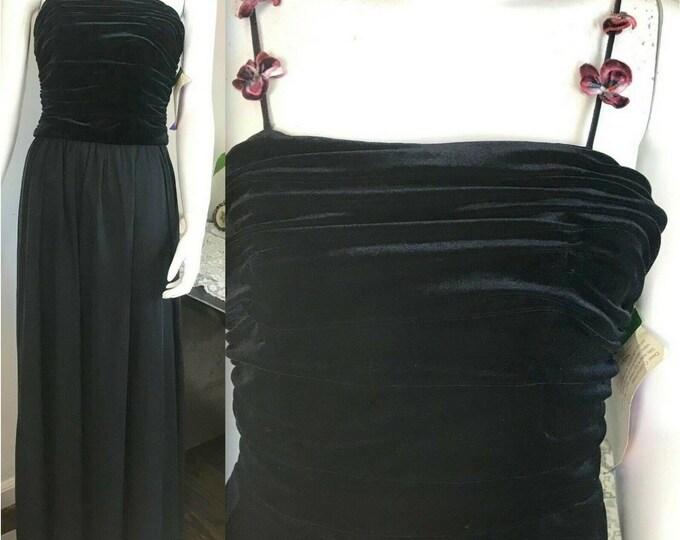 Vintage NOS 90s Y2K De Laru Ruched Velvet Black Chiffon Maxi Prom Formal Dress S