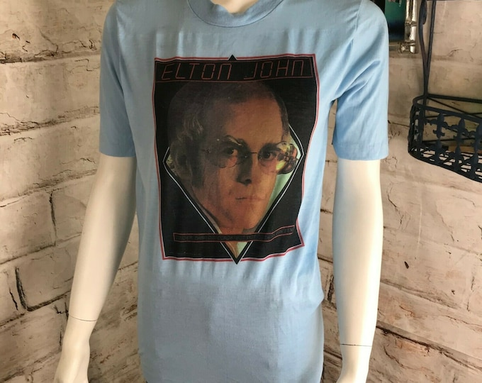 Vintage 1976 Elton John T Shirt 70s Concert Thin Blue S Louder Than Concorde But Not Quite As Pretty1970s
