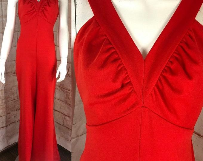 Vintage 70s Orange-Red Palazzo Pants M Bell Bottom Wide Leg Pants Jumpsuit Disco 1970s Medium
