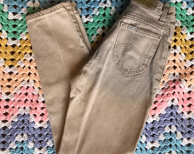 Vintage 80s 90s Womens 24x27 Beige Lee Light Wash Jeans High Waist Mom Tapered XSmall XS