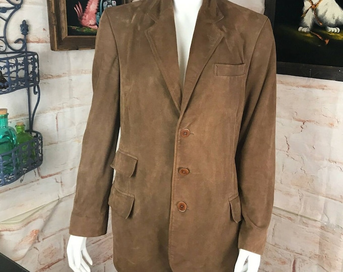 Vintage 90s Ralph Lauren Collection Purple Label Suede Equestrian Blazer Jacket
