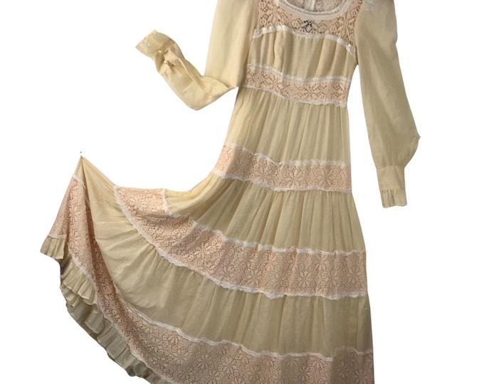 Vintage 70s Gunne Sax Black Label Cream Wedding Sheer Crochet Lace Maxi Dress