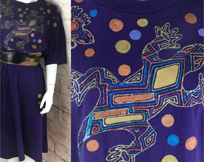 Vintage 90s Southwest Hand Painted Lizard Art Long T-Shirt Dress Single Stitch 1990s One Size
