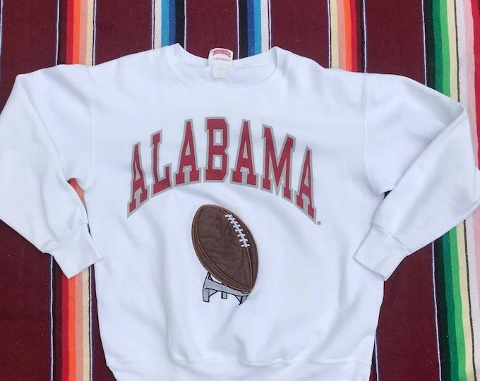 Vintage 90s Alabama University Embroidered Sweatshirt Roll Tide Football L White