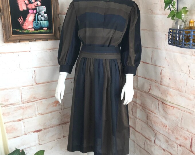 Vintage 80s Striped Midi Secretary M/L Medium/Large Dress 1980s Brown Sunshine Alley