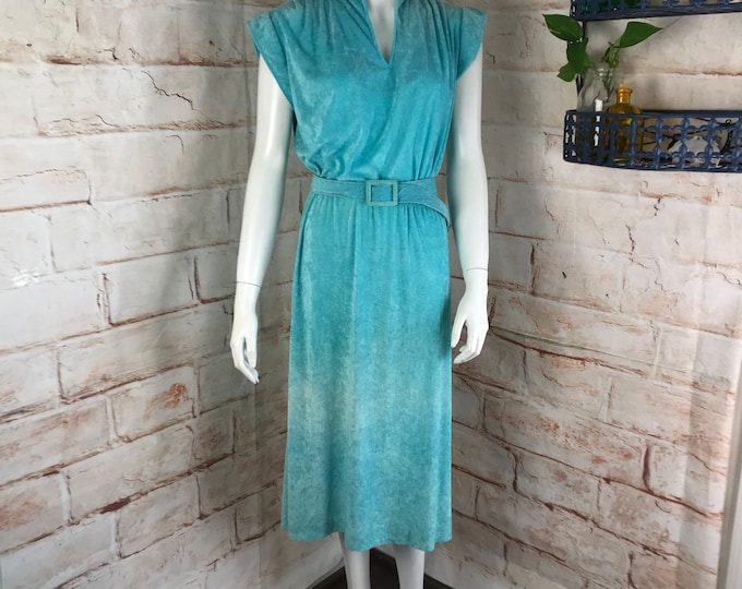 Vintage 70s Terry Cloth Aqua Blue Midi Secretary Dress Ms Sugar L Large 1970s