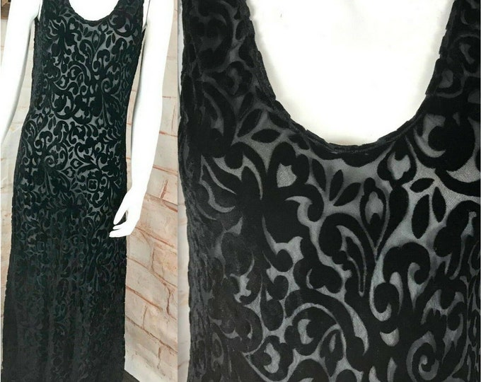 Vintage 90s 00s Black Filigree Burnout Velvet Slip Sheer Midi Dress M Medium Rayon/Silk