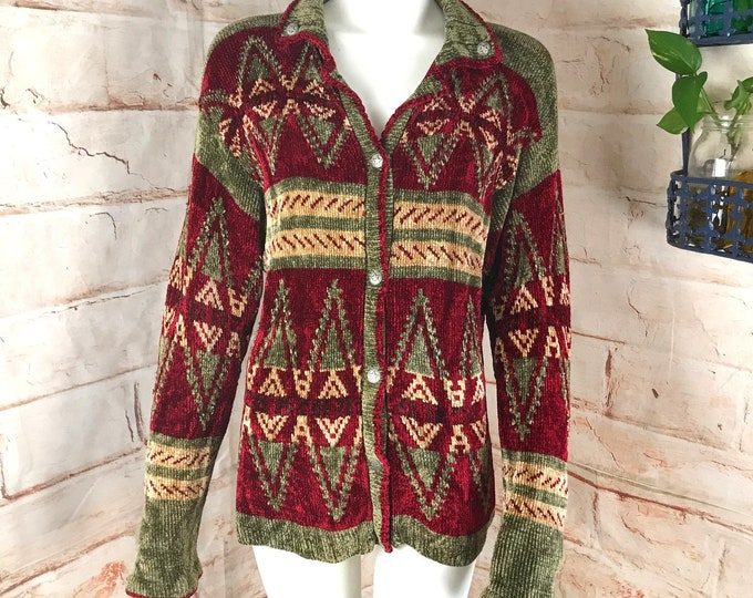Vintage 90s CB Milligan Brand M/L Southwest Rayon Southwestern Chenille Cardigan Womens Sweater 1990s