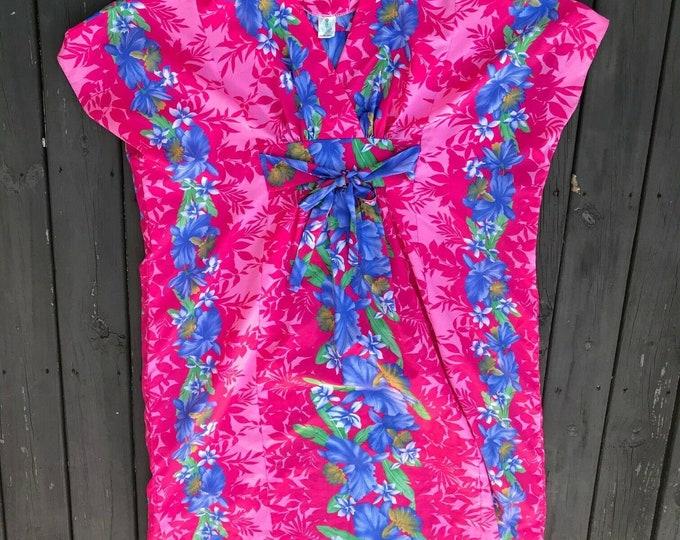 Vintage 70s 80s Royal Creations Hawaii Hawaiian Maxi Midi Dress Caftan Floral OS
