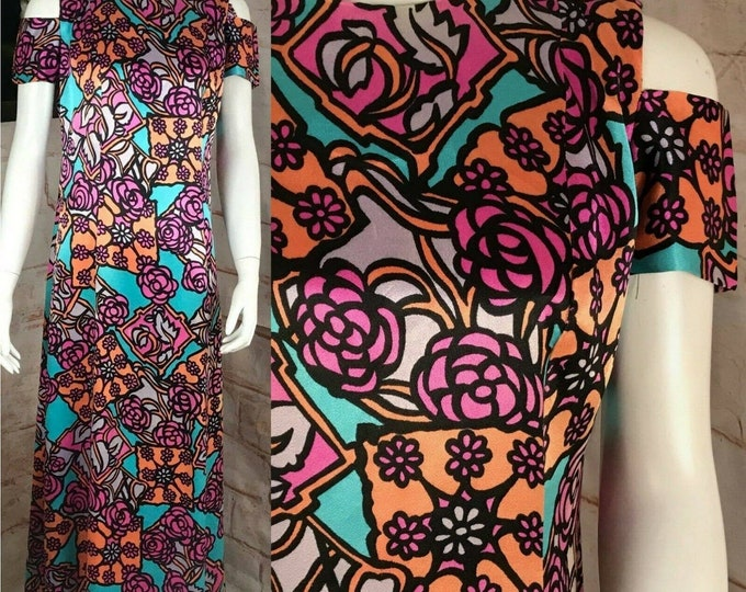 Vintage 70s Satin Psychedelic Floral Maxi Dress Handmade M Medium Cold Shoulder