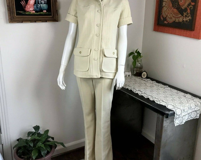 Vintage 70s Womens H Bar C Western Polyester Suit Bell Bottom Cream/Pale Yellow