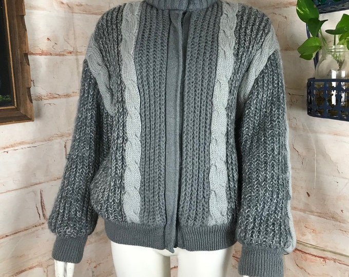 Vintage 80s Womens J Gallery Cable Knit Chunky Grey Sweater Coat M Medium 1980s