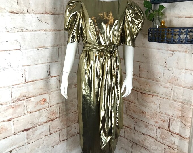 Vintage 80s Metallic Lame Gold Midi Prom S/M Formal Party Dress Puff Sleeve vtg 1980s Small/Medium Cocktail After Five