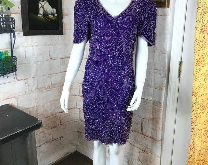Vintage 80s 90s Purple Beaded Sequin Metallic Silk Mini Sheath Party Dress S/M Prom party small/medium