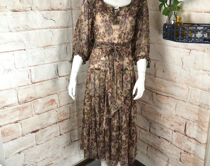 Vintage 70s Karen Alexander for Chelsea Floral XS/S Sheer Boho Midi Peasant Dress Tiered vtg 1970s Xsmall/small hippie