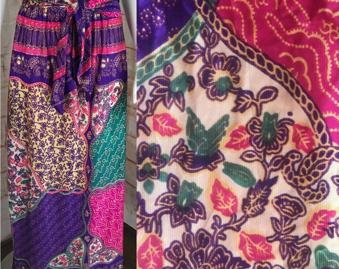 """Vintage 70s Psychedelic poly-satin S 25"""" Paisley Abstract Filigree Maxi Skirt 1970s Small"""