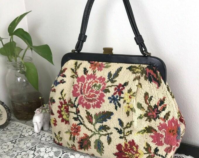 Vintage 60s Kadin Floral Needlepoint Tapestry Carpet Bag Purse Handbag 1960s vtg