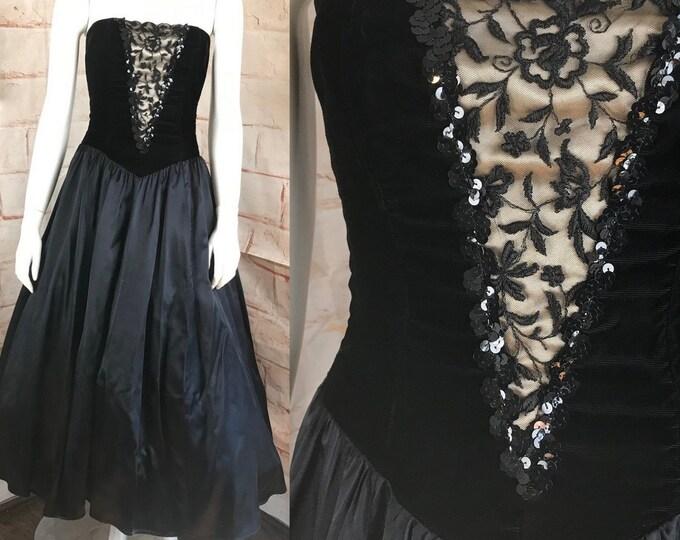 Vintage 80s Gunne Sax Strapless XS Formal Holiday Party Prom Satin Velvet Full Skirt Dress 1980s XSmall Ball Gown midi