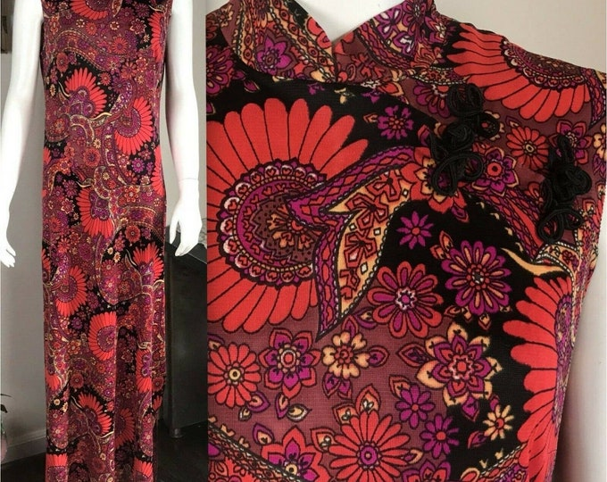 Vintage 70s Bright Psychedelic Paisley Floral Cheongsam Style Maxi Dress M/L