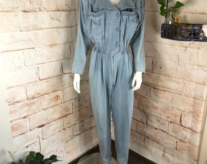 Vintage 80s d.Frank Space Age Denim M Medium Chambray Light wash lightwash coveralls Jeans Jean Jumpsuit vtg 1980s