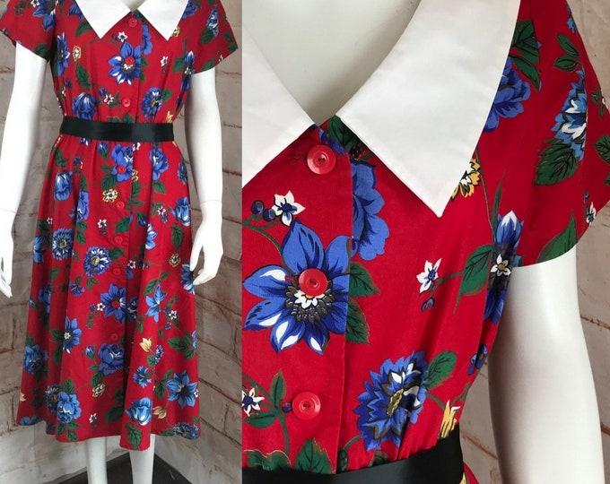 Vintage 80s Red Floral Peter Pan Collar M Midi 40s-style Secretary Cotton Dress 1980s Medium sailor