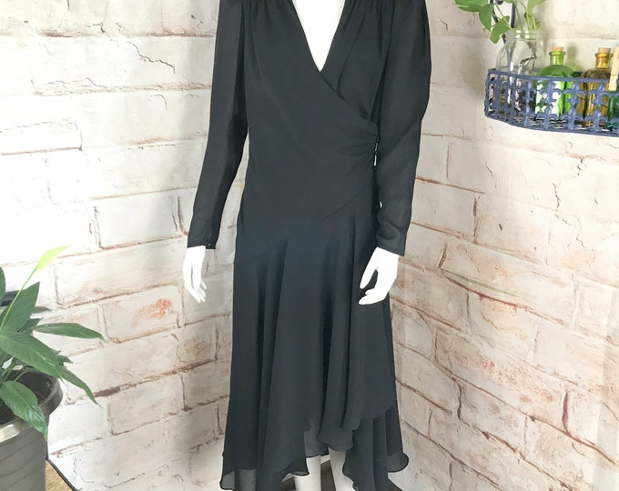 Vintage 80s Black Draped Beaded Shoulder Sheer Chiffon S/M Wrap Midi Party Dress 1980s dance