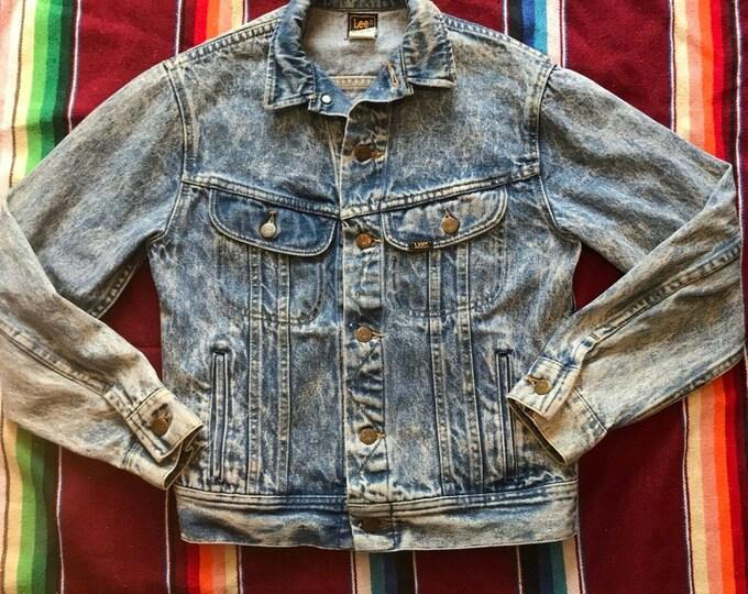 Vintage 80s Womens Lee Acid Wash Washed Blue Jean Denim Jacket XS/S 1980s