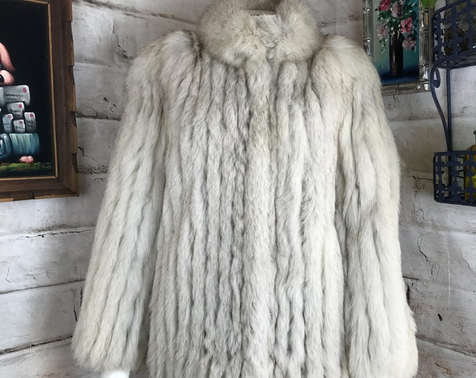 EUC Womens Vintage Saga Fox Cream White Gray Silver Real Fur Ribbed Coat Jacket S Small 80s