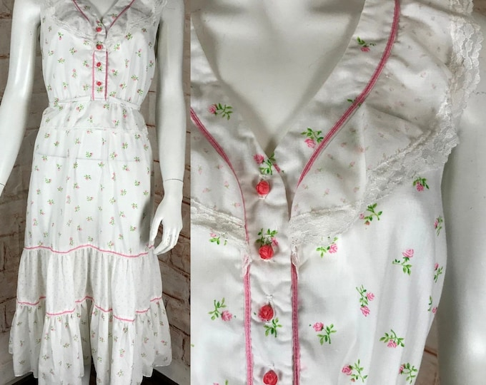Vintage 70s Jody T of California Ditsy Tiny Floral Midi Prairie Sun S/M Dress Rose Roses Lace Sundress 1970s Small/Medium