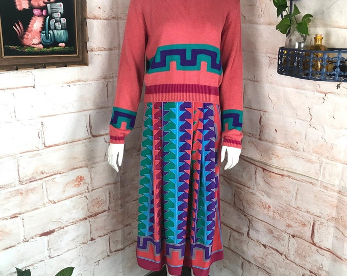 Vintage 80s Bright Rainbow Geometric S/M Sweater Top Blouse Skirt Set Dress vtg 1980s Small/Medium