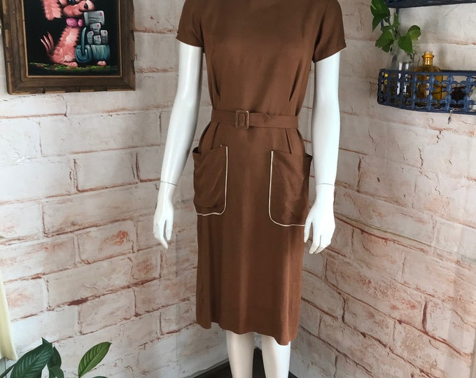 Vintage 40s 50s Brown XS/S Linen Shift Sheath Secretary Dress 1950s Midcentury 1940s 1950s