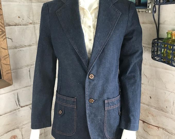Vintage 70s JC Penney Dark Blue M Indigo Denim Jean Blazer Sport Coat 1970s Medium