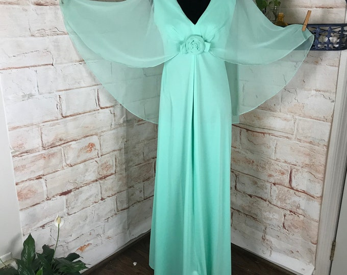 Vintage 70s Mint Green Rose Sheer Chiffon Draped Cape M Maxi Dress Caftan Gown 1970s medium