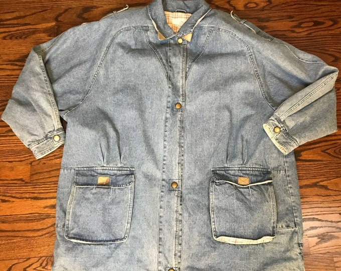 Vintage 80s 90s Jean Denim Flannel Lined Coat Jacket 4XL 4X Plus Size Parka vtg