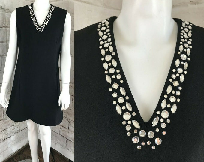 Vintage 60s Carlye Black Wool Crepe Shift Scooter Mini Dress L Rhinestone Party 1960s Mod Large Formal
