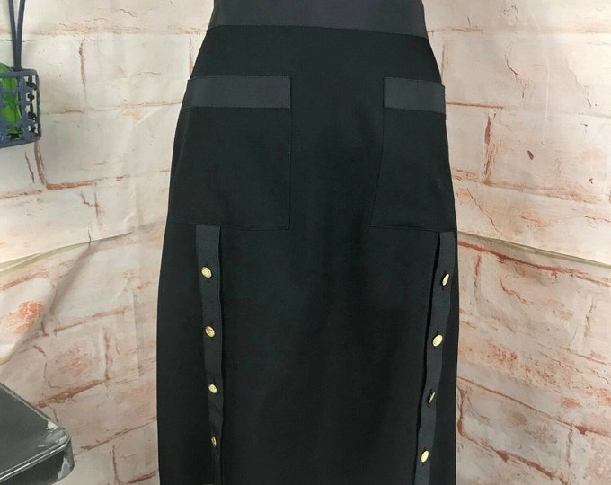 Vintage 90s Chanel Black Pencil Mini Skirt Wool Gabardine Gold Buttons M Medium