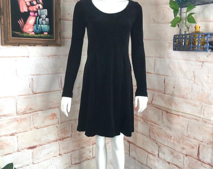 Vintage 90s Betsey Johnson Black Velvet Stretch Skater Mini Dress S Small Grunge 1990s