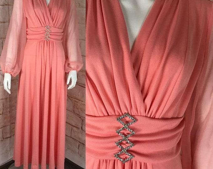 Vintage 70s Peach Sheer Chiffon Sleeves Draped M Maxi Dress Caftan Hostess Gown 1970s Hostess Medium