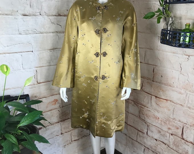 Vintage 60s Womens Peninsula Hotel Shanghai China Chinese Asian Gold Silk Brocade Robe midi Coat 1960s 50s Medium Large M/L Bell Sleeve