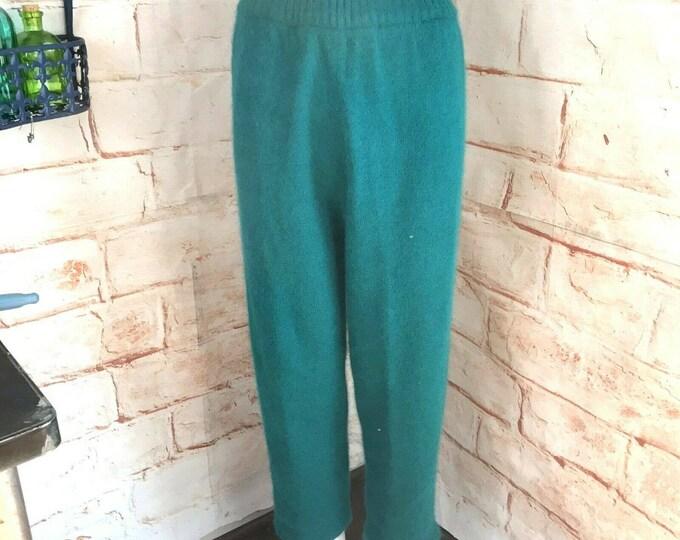 Vintage 80s 90s Fuzzy Wool Angora High Waist Teal Soft Sweater Pants M Medium