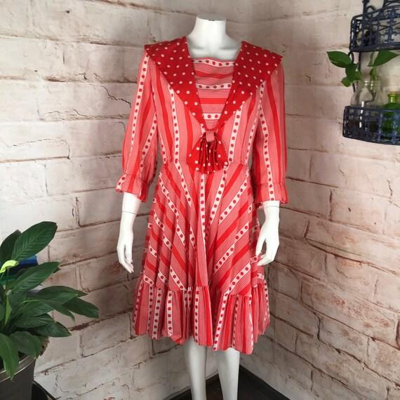 Vintage 70s Striped Polka Dot Sailor L Square Dance Full Skirt Mini Dress 1970s large