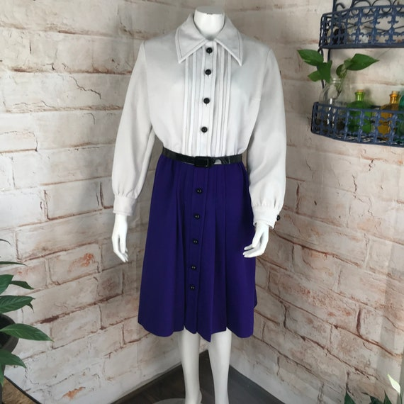 Vintage 60s 70s Two Tone Mod L Large Textured Double Knit Polyester Dress shift Pretaporte purple white shirtwaist shirt waist