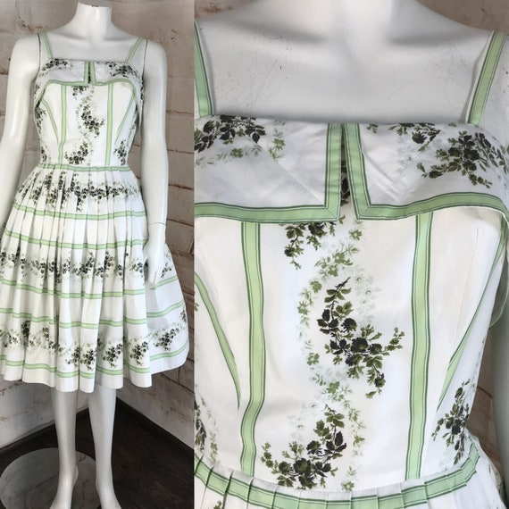 Vintage 50s 1950s Shabby Chic XS Green Roses Floral Cotton Full skirt Sun Dress xsmall cotton pleat pleated striped sundress garden tea