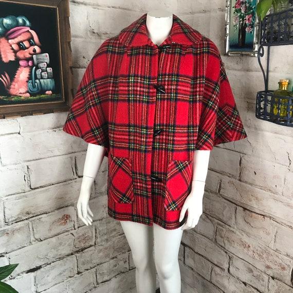 Vintage 70s Womens Glen-Har Red Tartan Scotland Plaid OS Fuzzy Cape Coat Poncho 1970s One Size