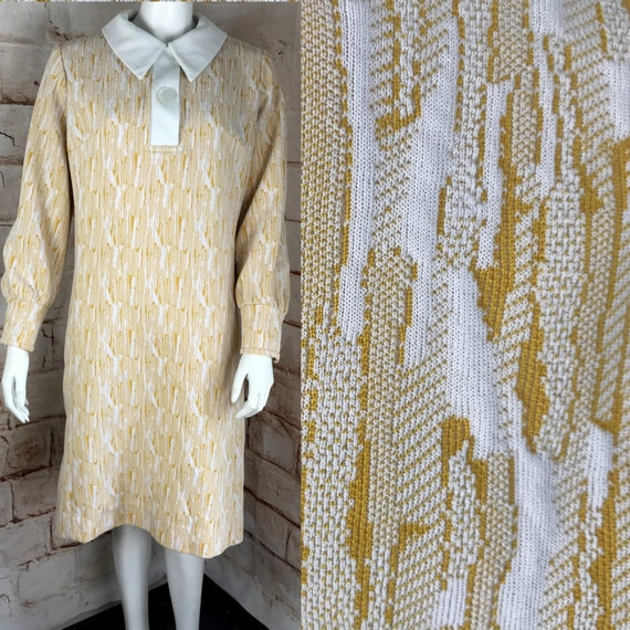 Vintage 60s 70s Textured Abstract Mod yellow L Scooter Mod Mr Fine Polyester Shift Midi Dress Large 1960s 1970s