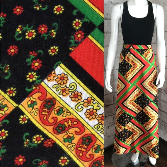 "Vintage 70s Geometric Bright Floral Flower Power A-line Maxi S 24"" Small Skirt 1970s"