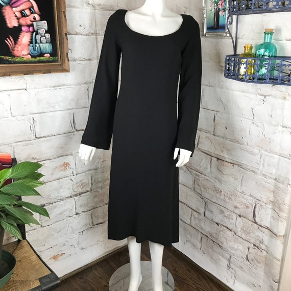 Vintage 70s Mr Blackwell Black Crepe Bell Sleeve Midi Mod Cocktail Party Dress S Small 1970s Draped