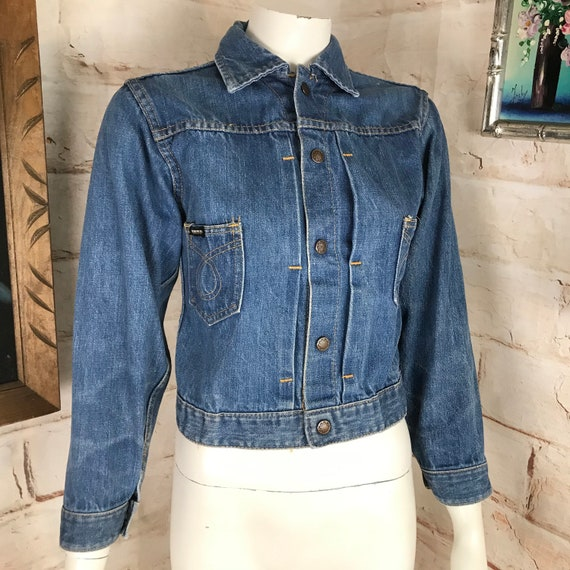 Vintage 60s 70s Womens Cropped Burlington Pleat Pleated Jean Jacket Metal Snap XS XSmall 1960s 1970s denim