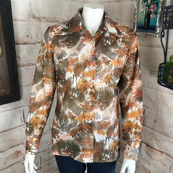 Vintage 70s Womens Abstract L Polyester Shirt Dagger Collar Disco Blouse Top vtg floral kmart 1970s